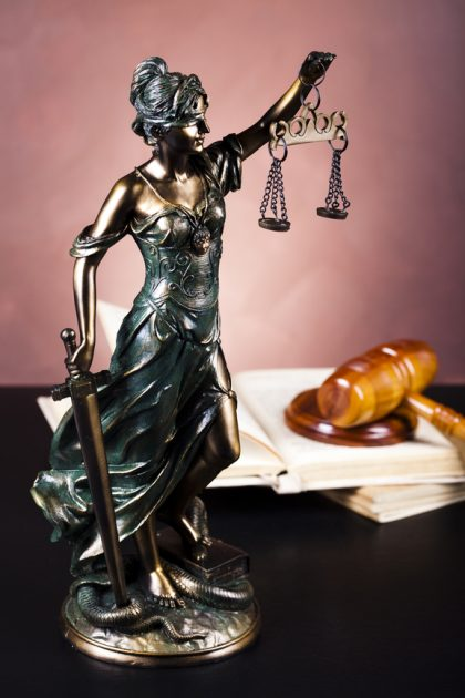 desk statue of lady justice