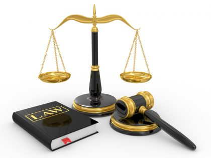 scale of justice, law book and gavel
