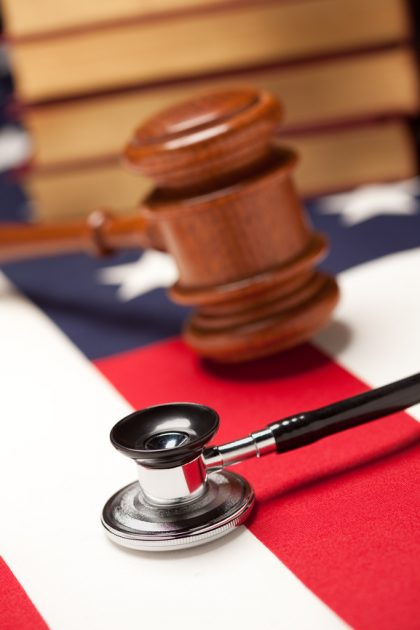 stethoscope gavel and flag